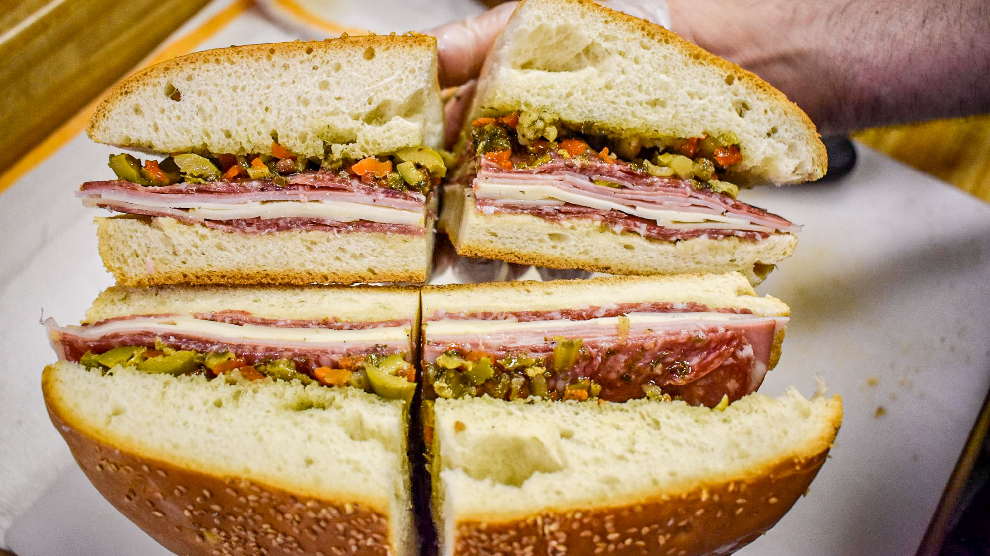 Muffuletta sandwich in New Orleans