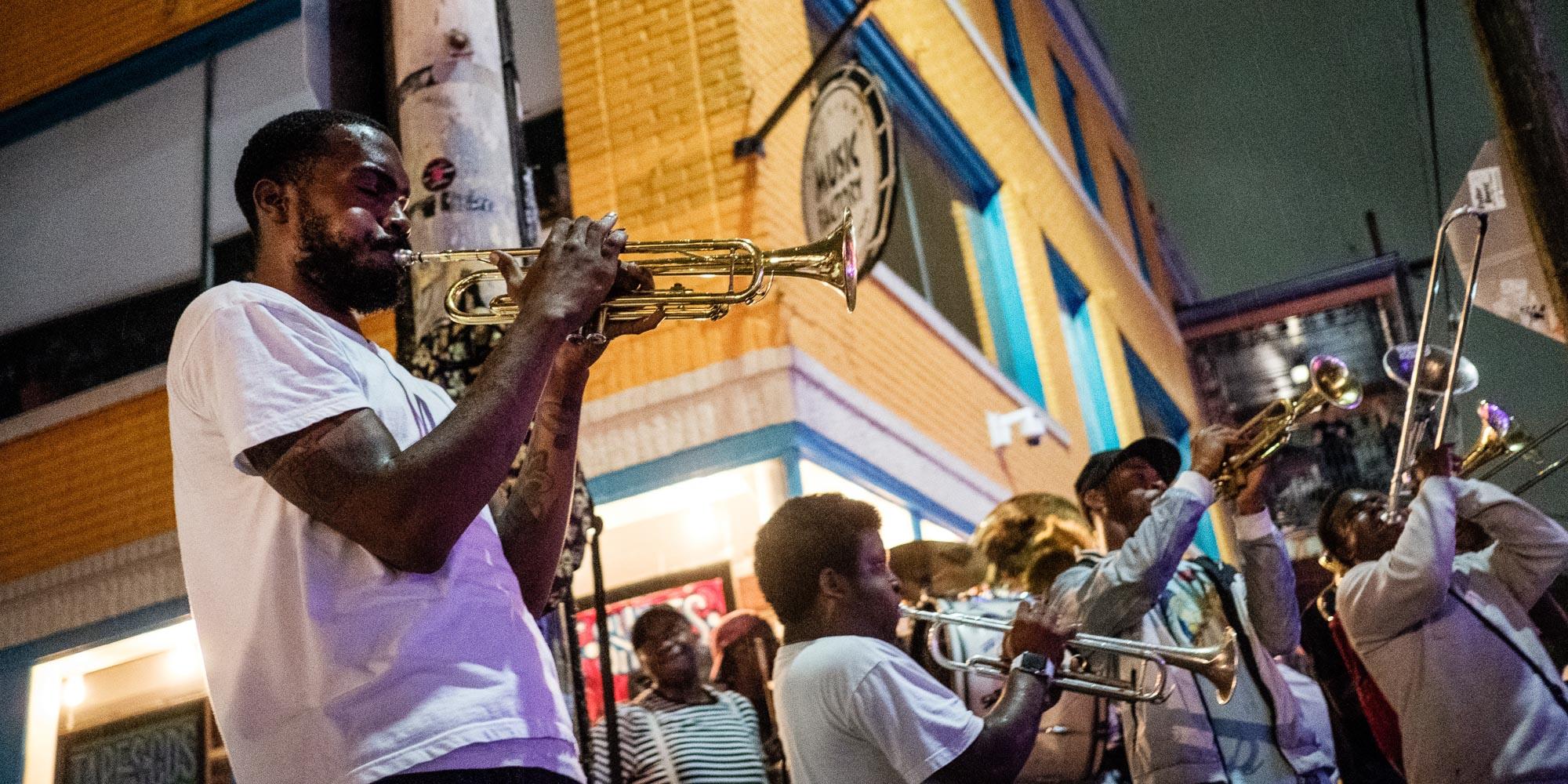 Frenchmen Street in Marigny neighborhood in New Orleans