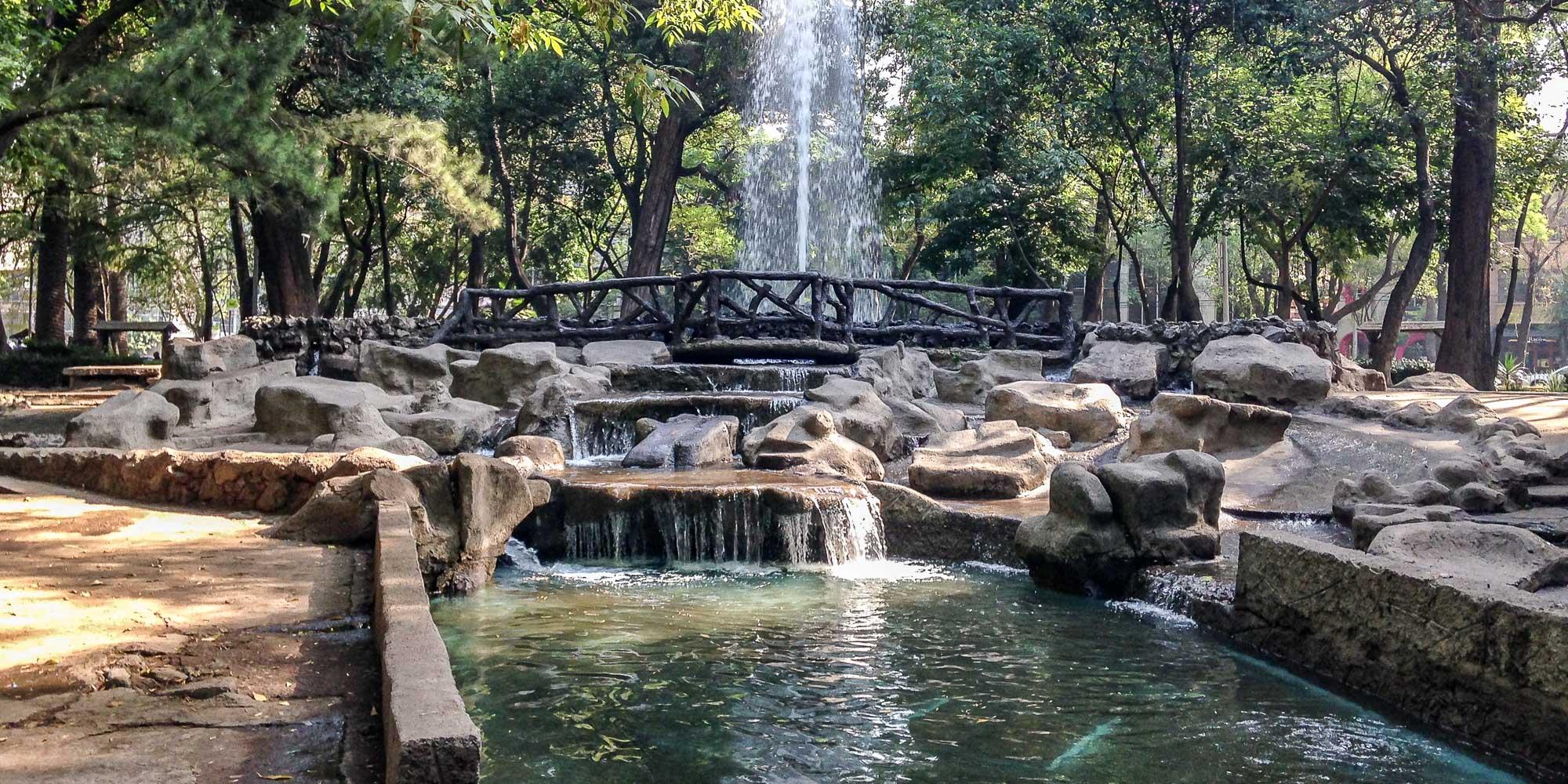 Park in Condesa neighborhood in Mexico City