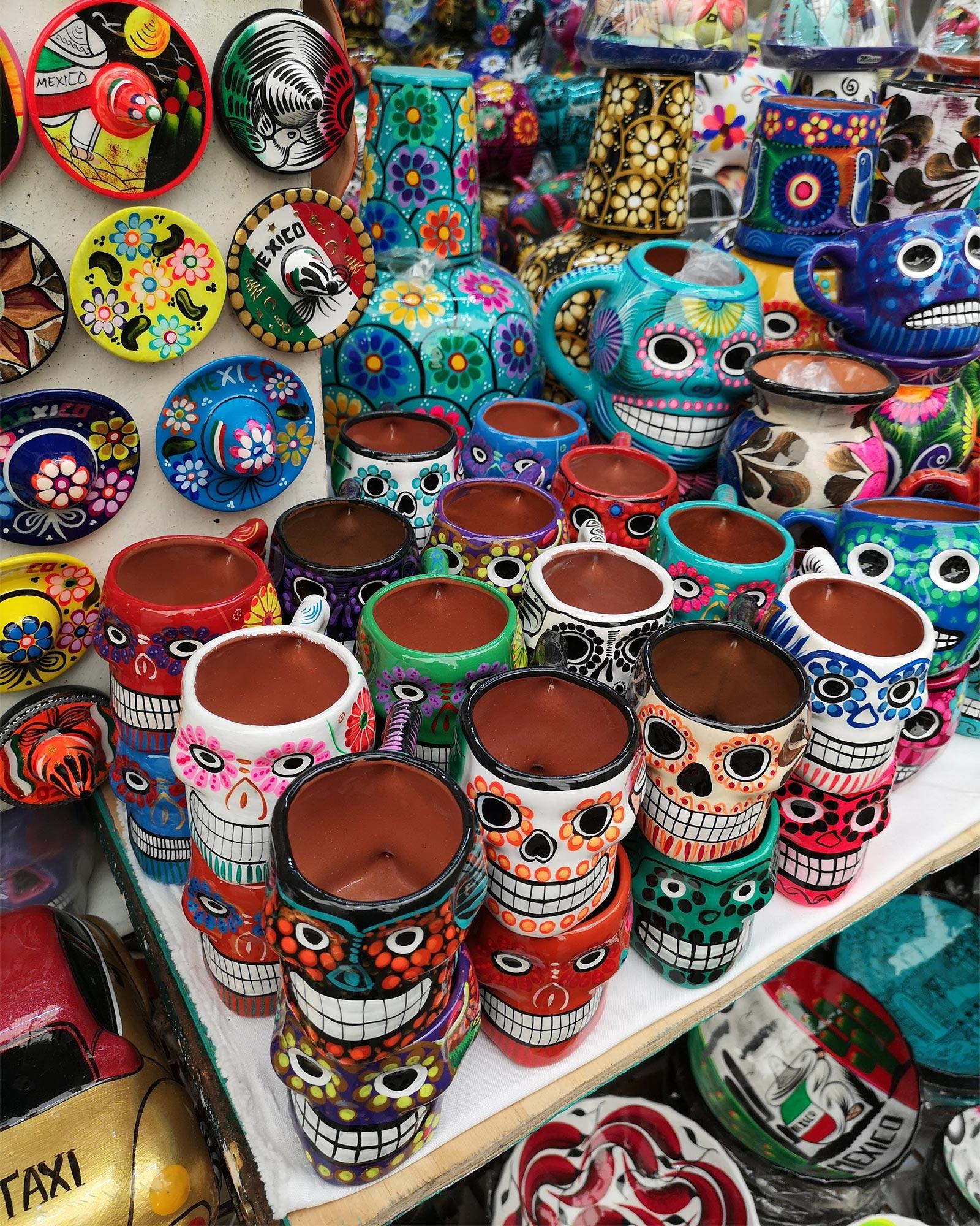 Folk art mugs in Coyoacán in Mexico City