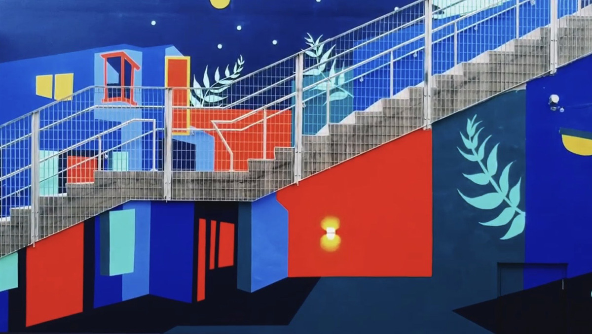 Tokyo Nights mural by Mika Revell in Arts District in Los Angeles