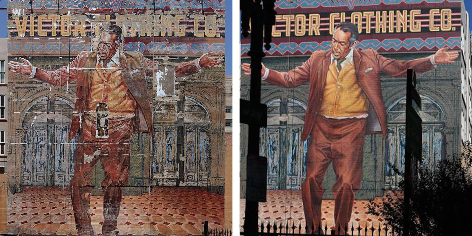 Historic mural was refurbished by the original artist