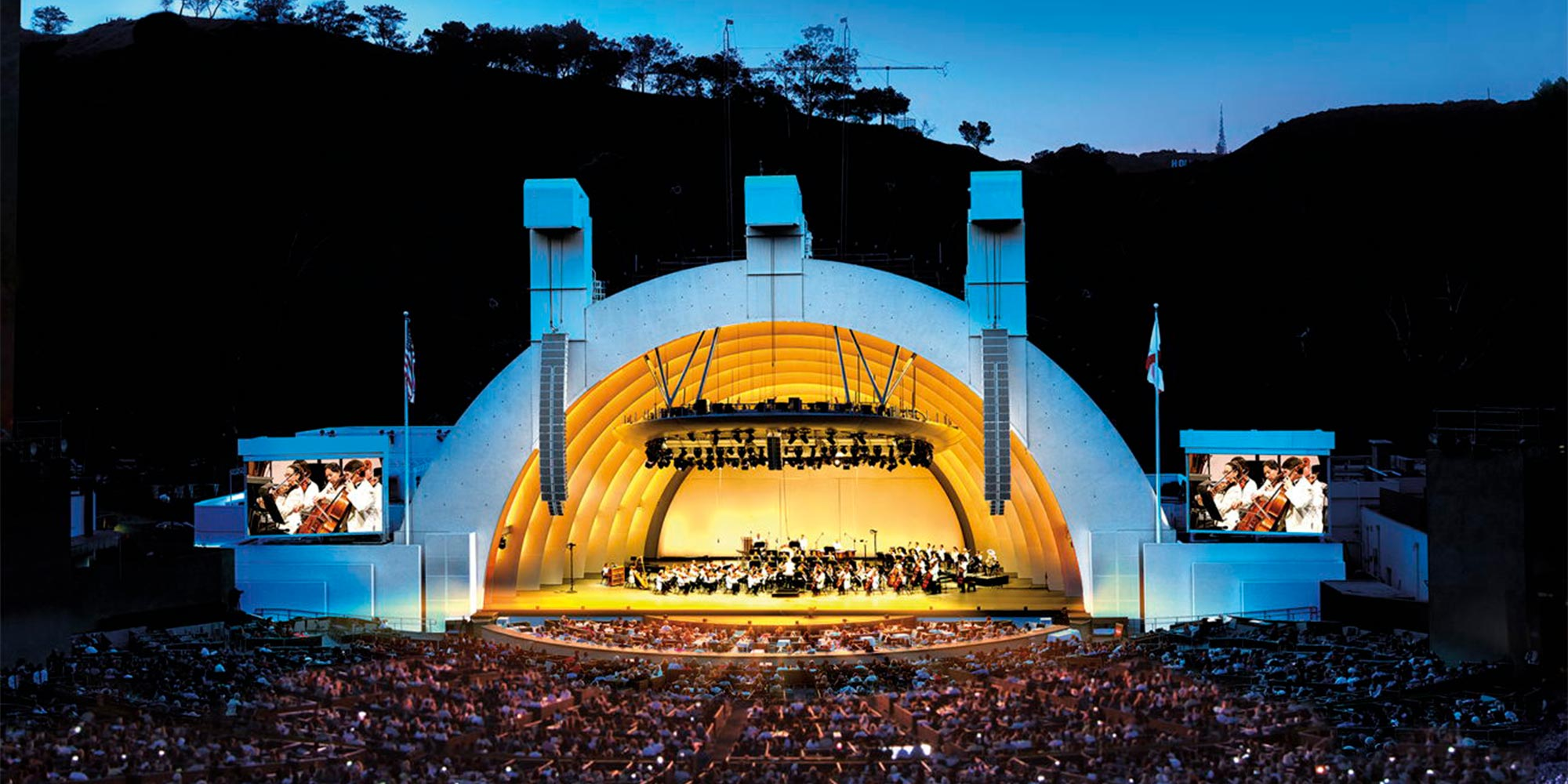 Historic amphitheater Hollywood Bowl for live music in Los Angeles, California.